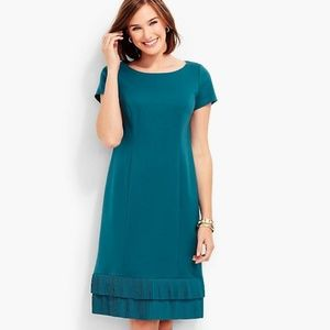 Beautiful color! Teal Talbots ponte & crepe dress